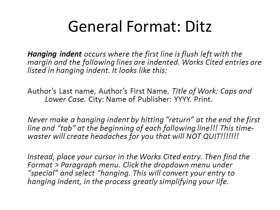 General Format: Ditz