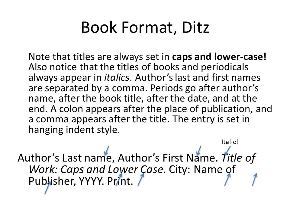 Book Format, Ditz