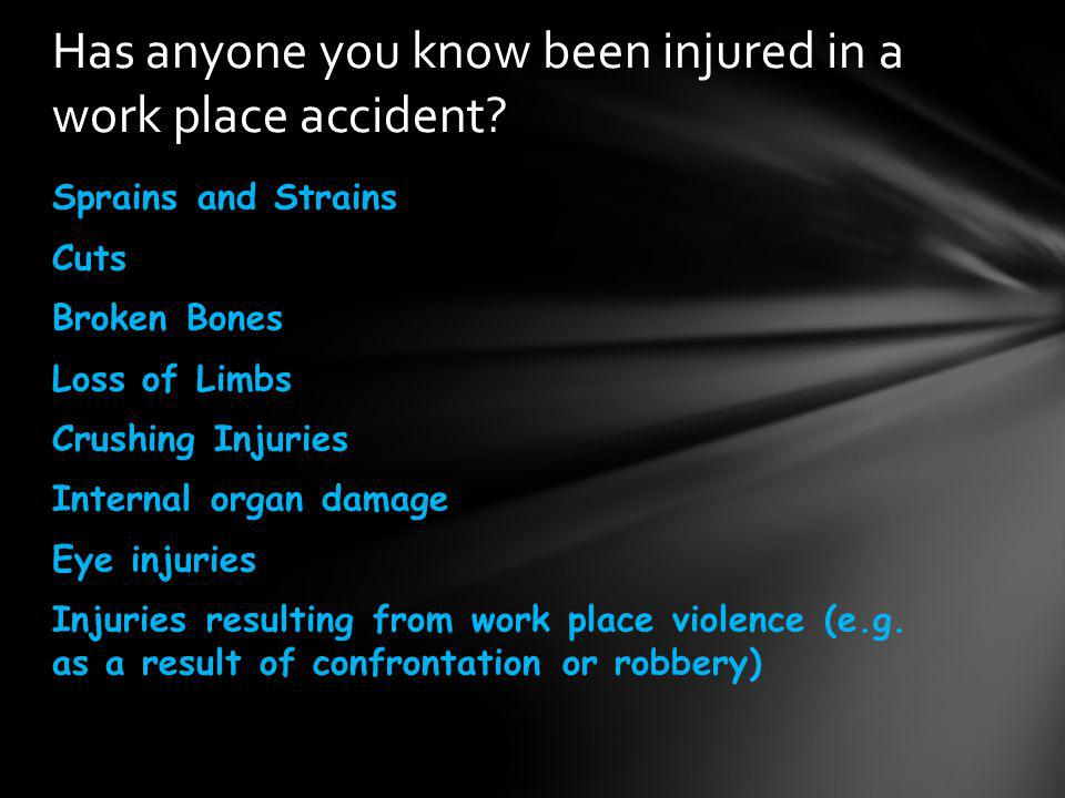 Has anyone you know been injured in a work place accident