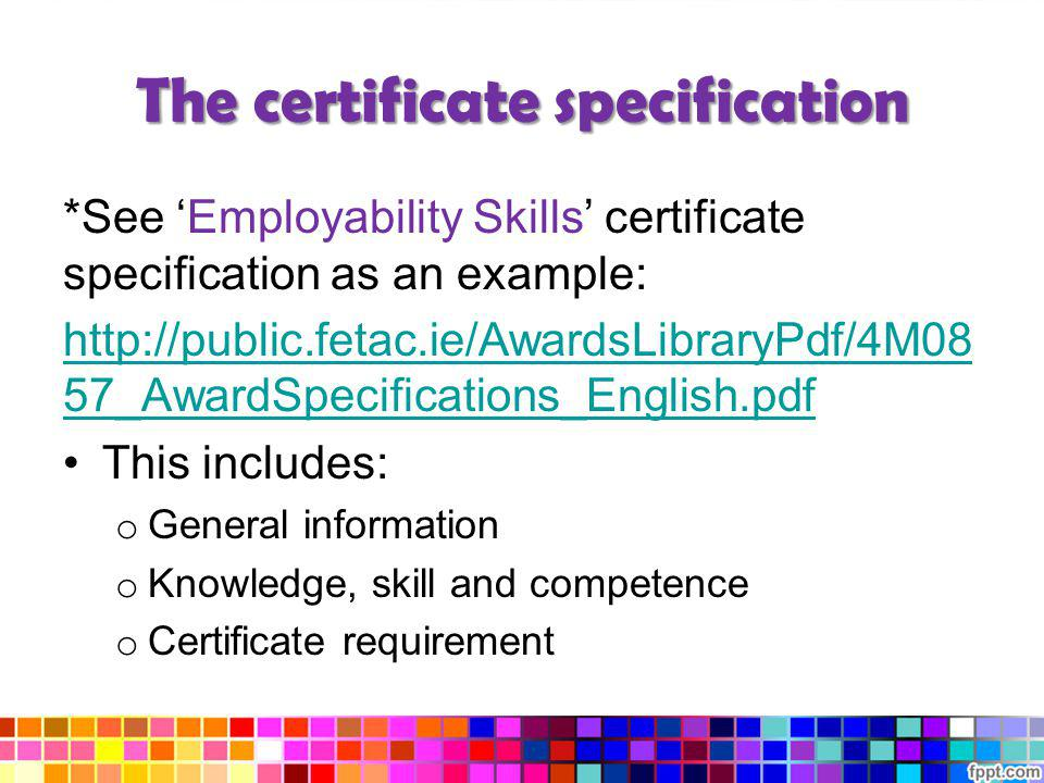 The certificate specification