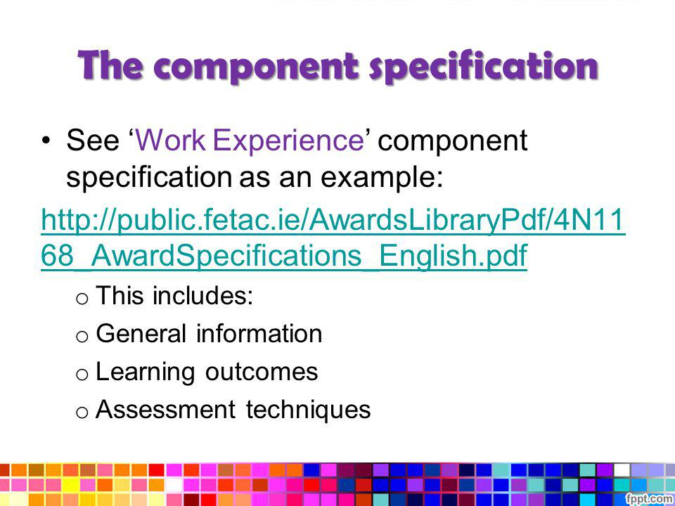 The component specification