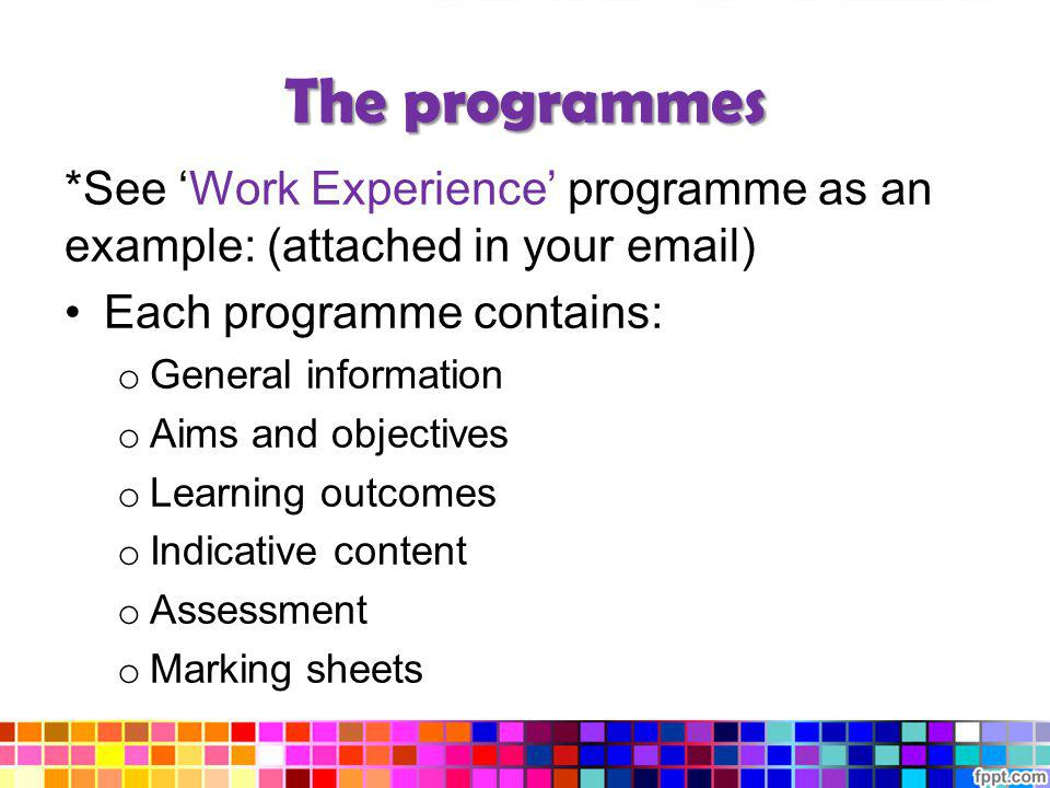 The programmes *See 'Work Experience' programme as an example: (attached in your email) Each programme contains: