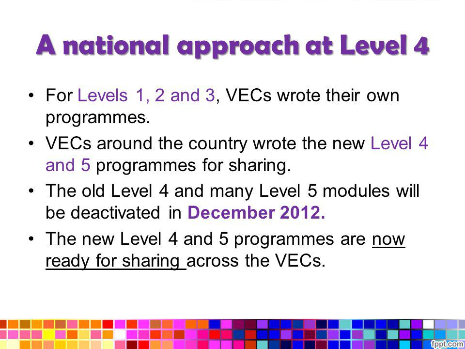 A national approach at Level 4