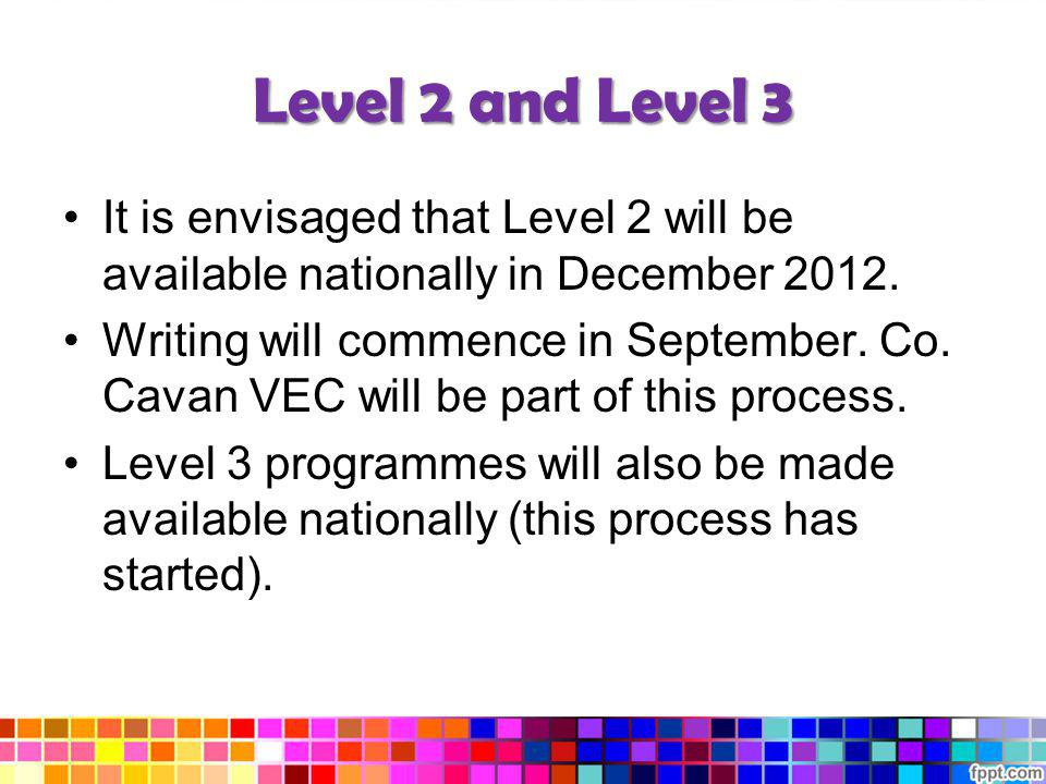 Level 2 and Level 3 It is envisaged that Level 2 will be available nationally in December 2012.