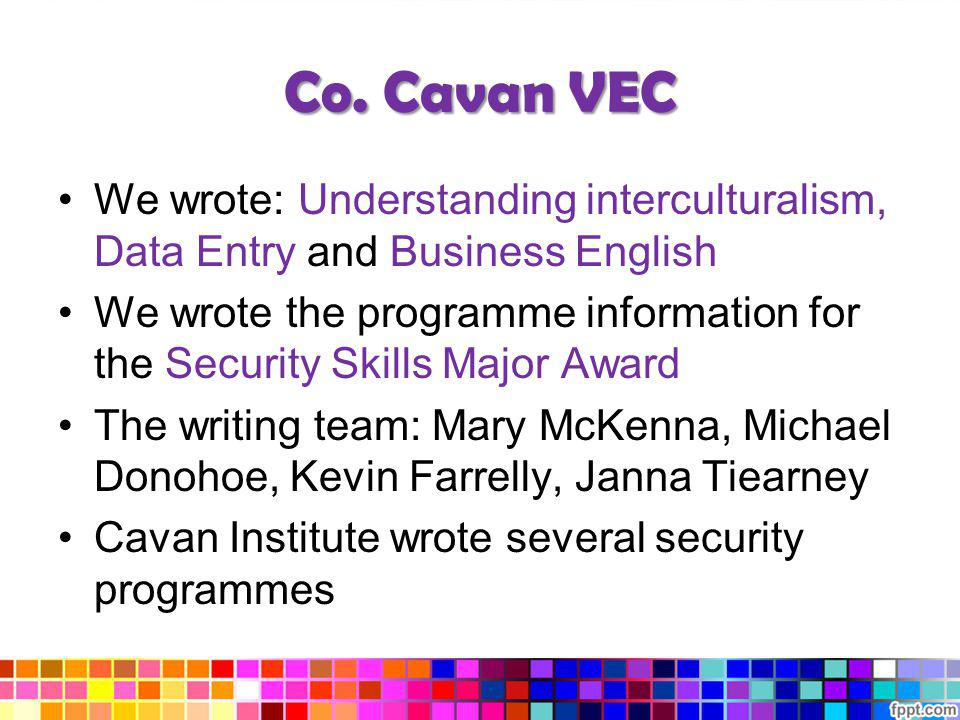 Co. Cavan VEC We wrote: Understanding interculturalism, Data Entry and Business English.
