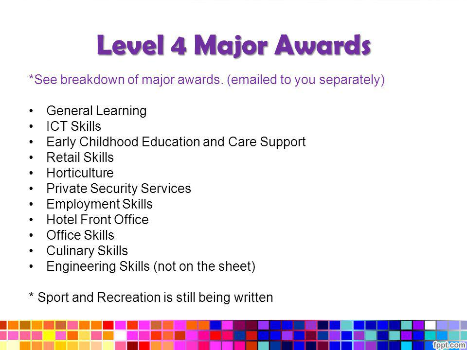Level 4 Major Awards *See breakdown of major awards. (emailed to you separately) General Learning.