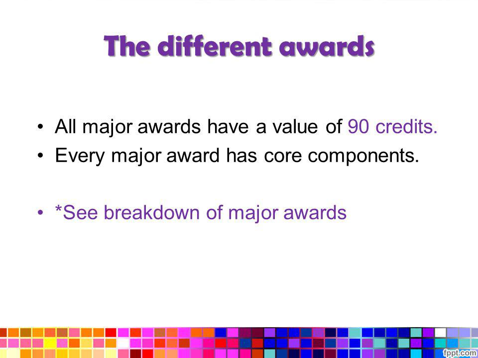 The different awards All major awards have a value of 90 credits.