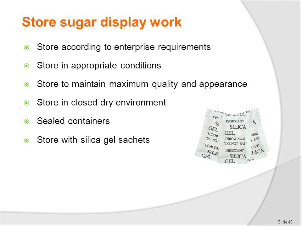 Store sugar display work
