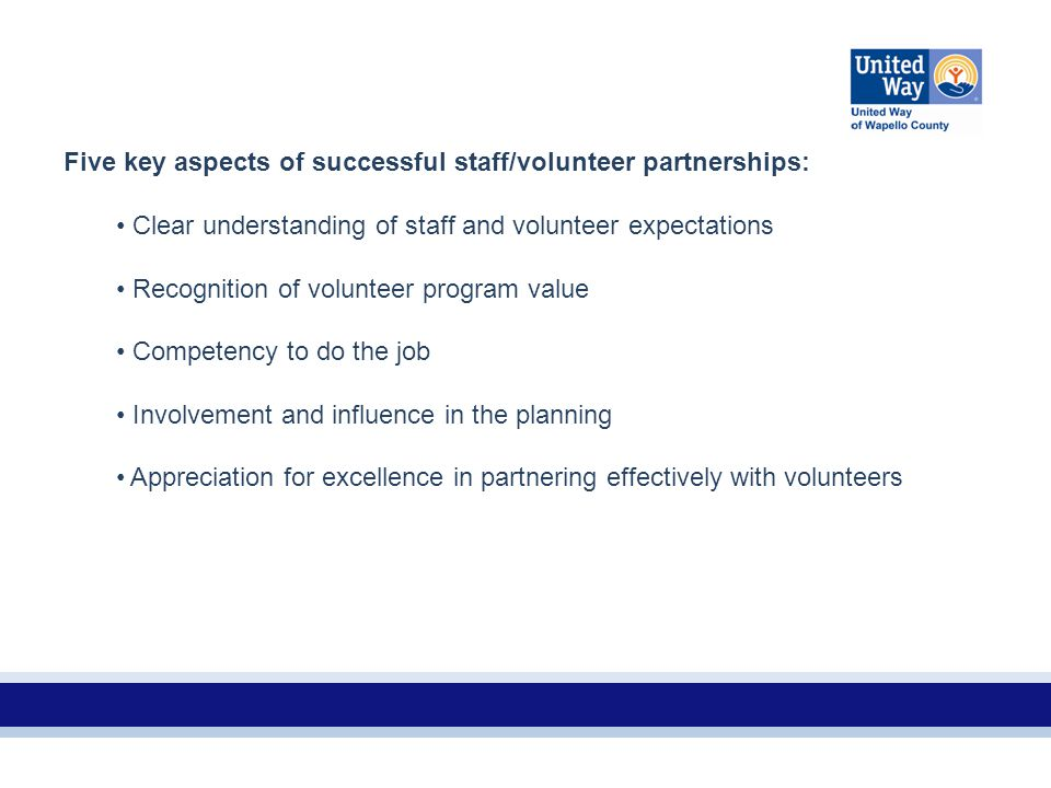 Five key aspects of successful staff/volunteer partnerships: