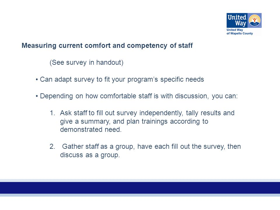 Measuring current comfort and competency of staff