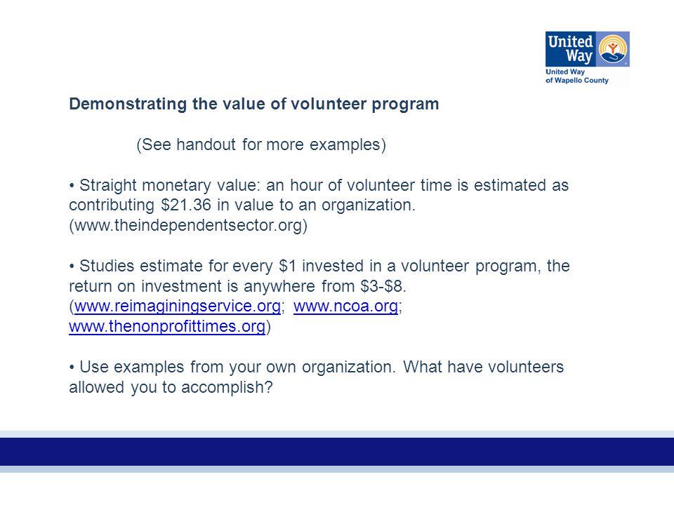 Demonstrating the value of volunteer program