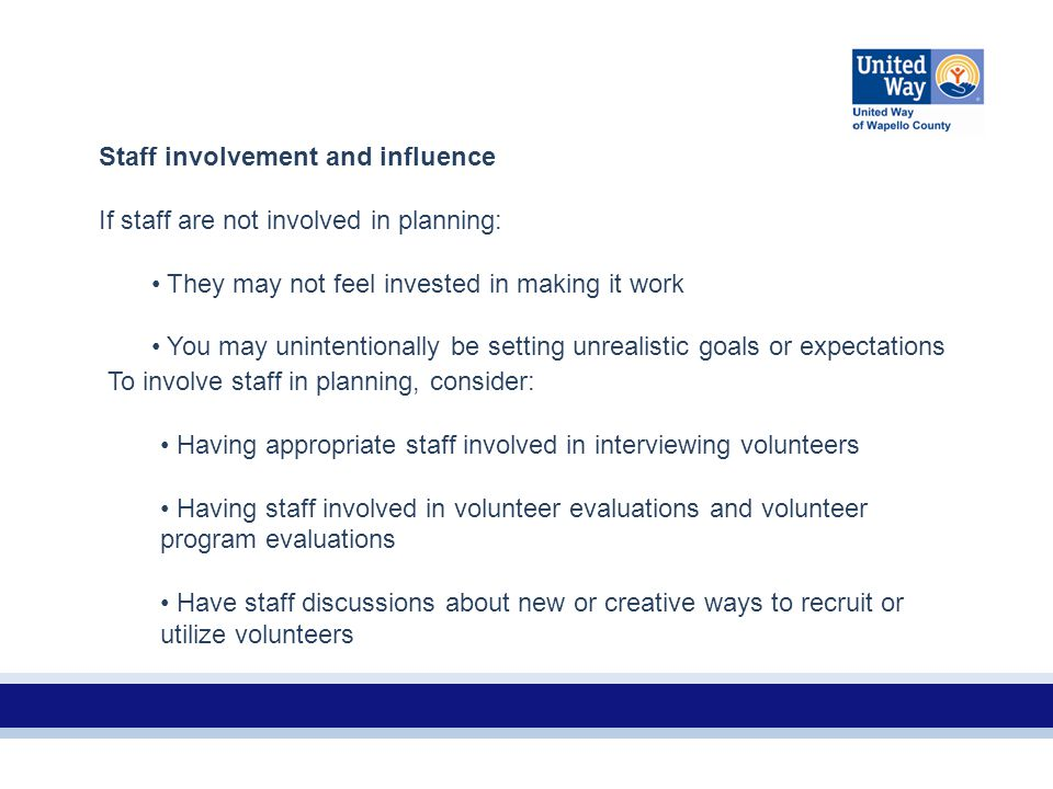 Staff involvement and influence