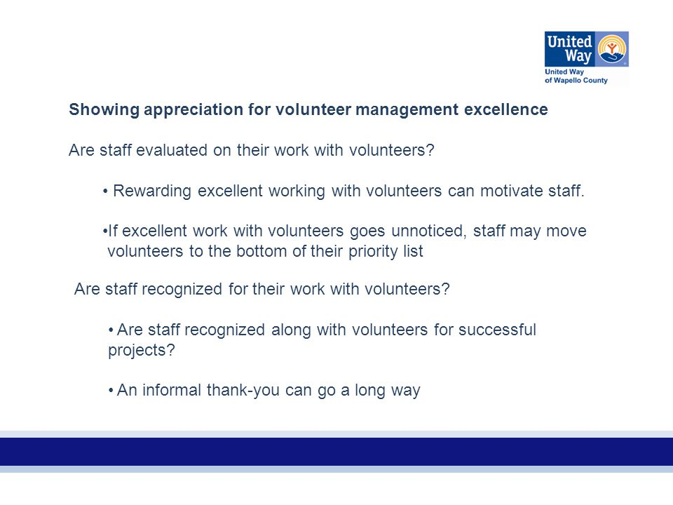 Showing appreciation for volunteer management excellence