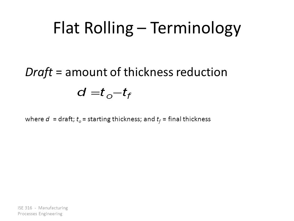 Flat Rolling – Terminology