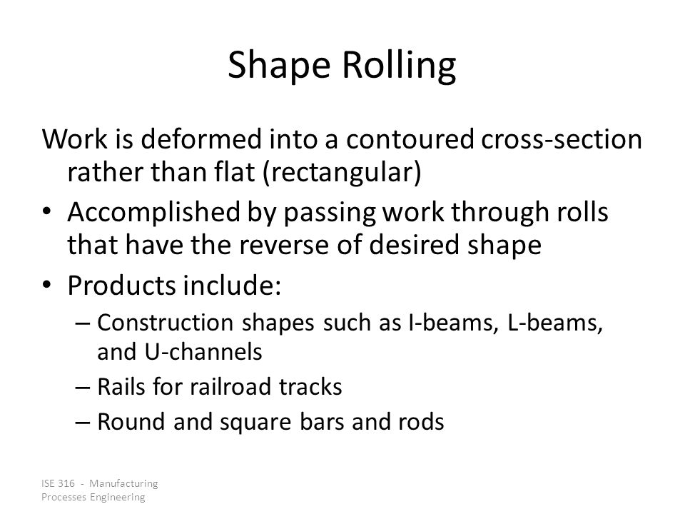 Shape Rolling Work is deformed into a contoured cross‑section rather than flat (rectangular)