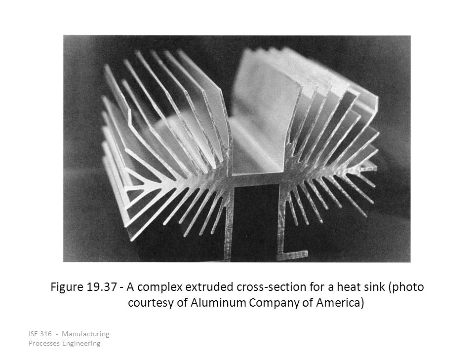 Figure 19.37 ‑ A complex extruded cross‑section for a heat sink (photo courtesy of Aluminum Company of America)