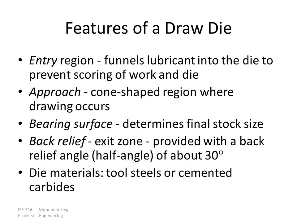 Features of a Draw Die Entry region - funnels lubricant into the die to prevent scoring of work and die.