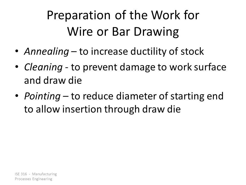 Preparation of the Work for Wire or Bar Drawing