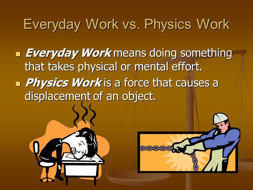 Everyday Work vs. Physics Work