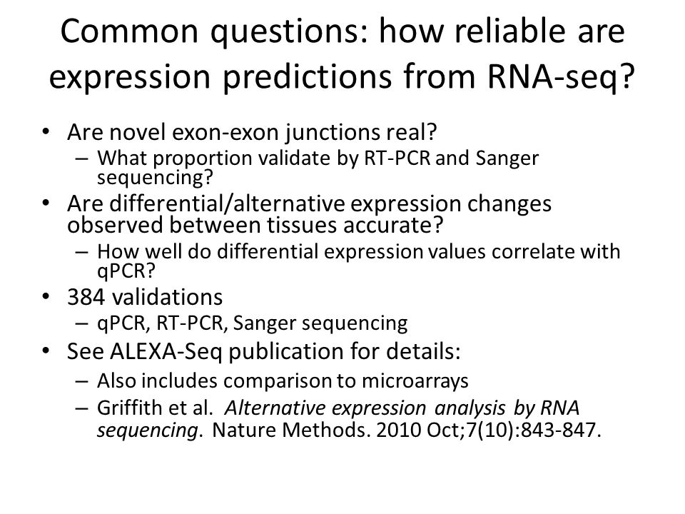 Common questions: how reliable are expression predictions from RNA-seq