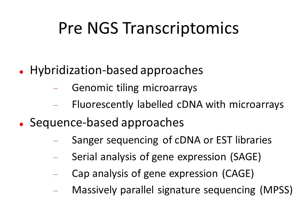 Pre NGS Transcriptomics