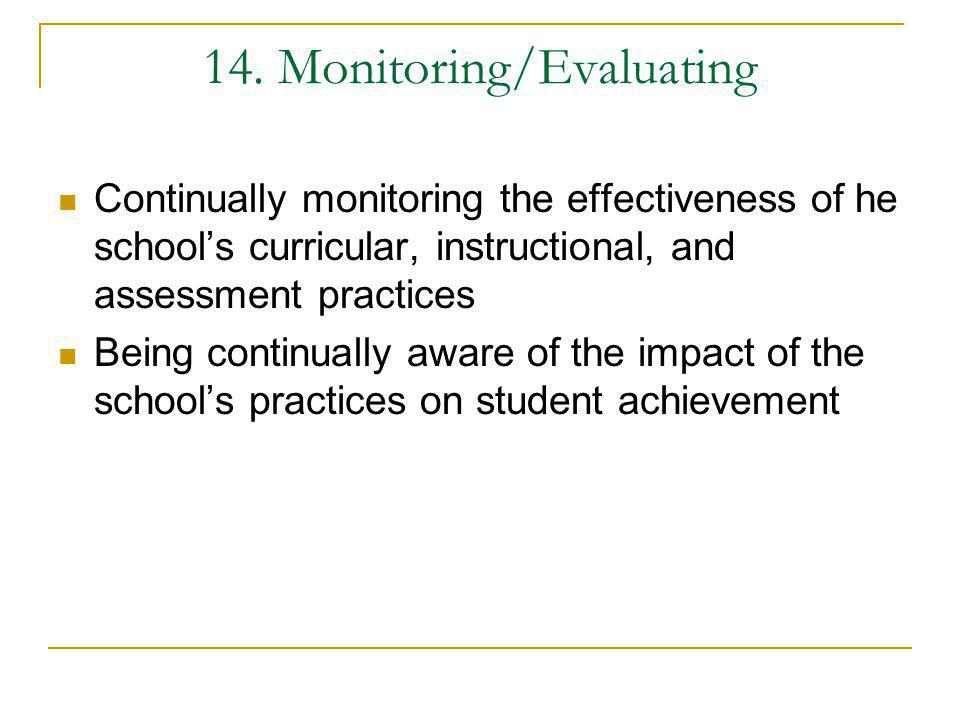 14. Monitoring/Evaluating