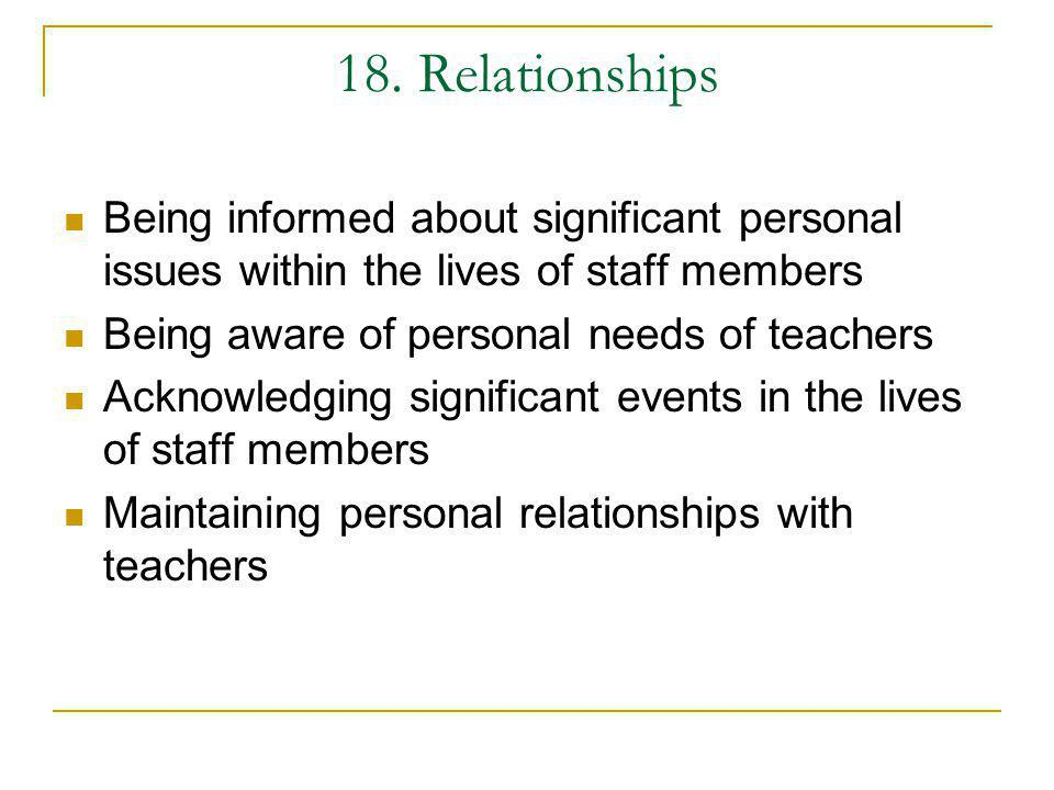 18. Relationships Being informed about significant personal issues within the lives of staff members.