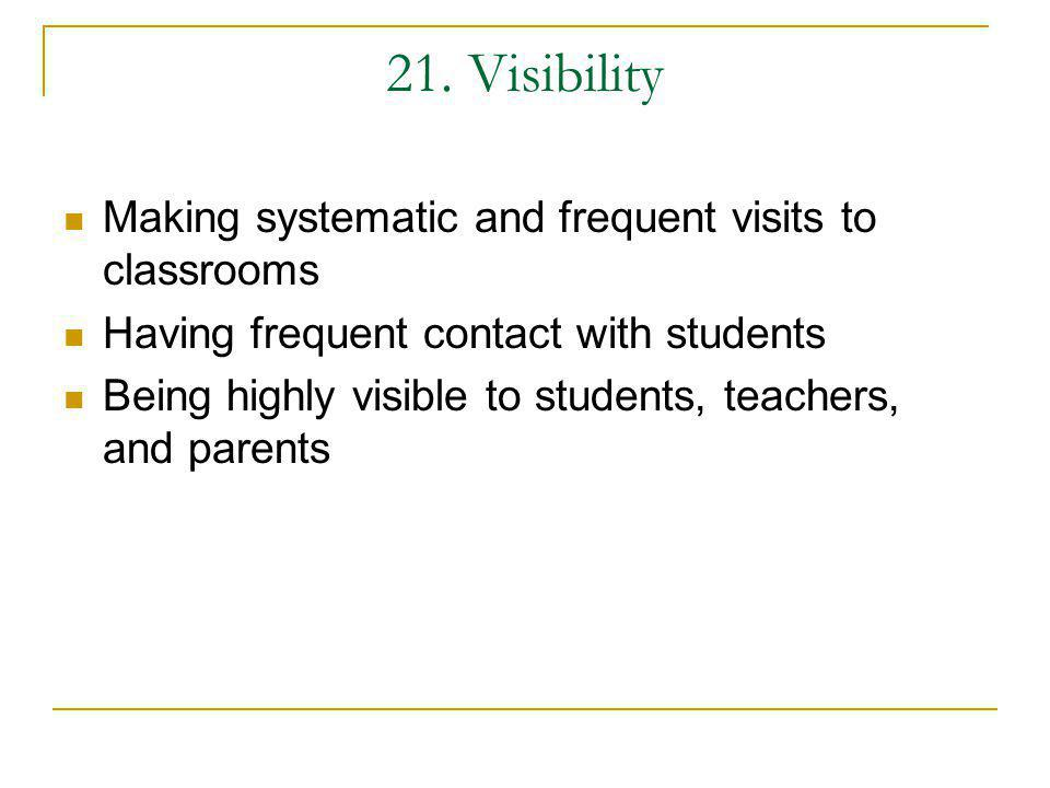 21. Visibility Making systematic and frequent visits to classrooms