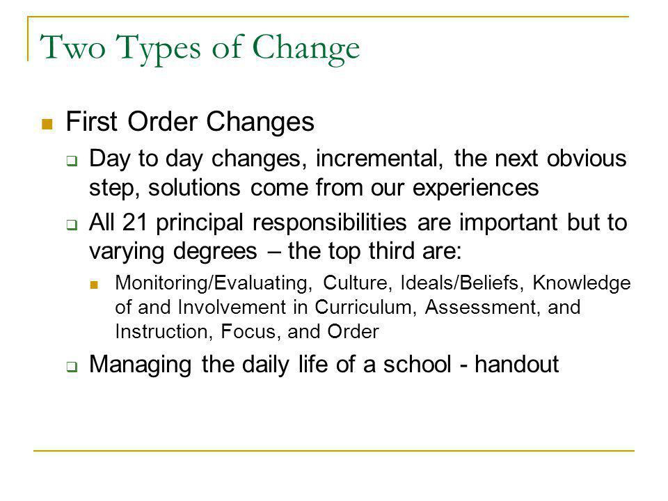 Two Types of Change First Order Changes