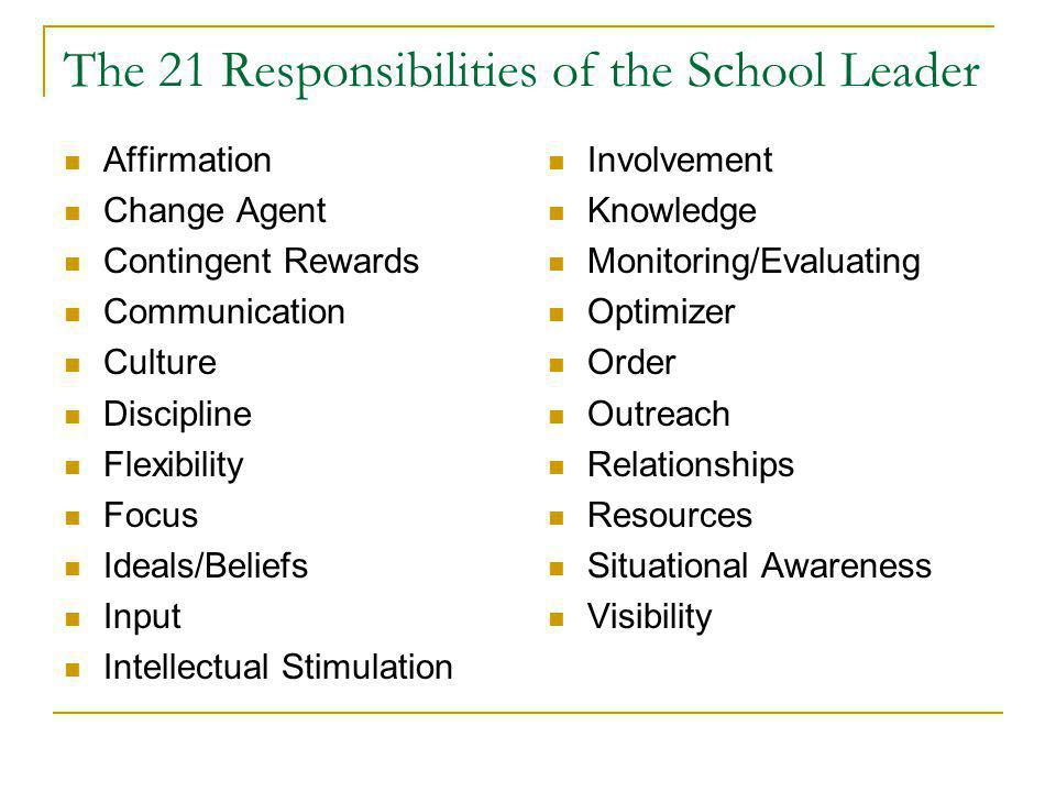 The 21 Responsibilities of the School Leader