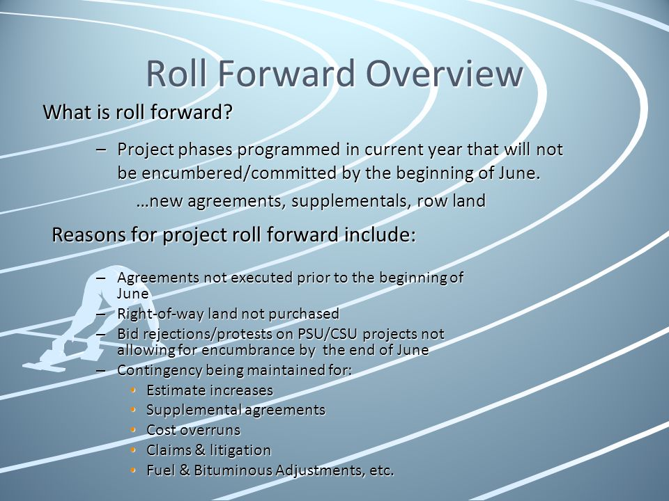 Roll Forward Overview What is roll forward