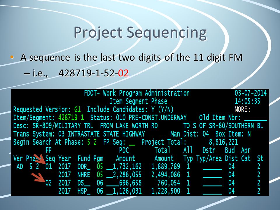 Project Sequencing A sequence is the last two digits of the 11 digit FM i.e., 428719-1-52-02