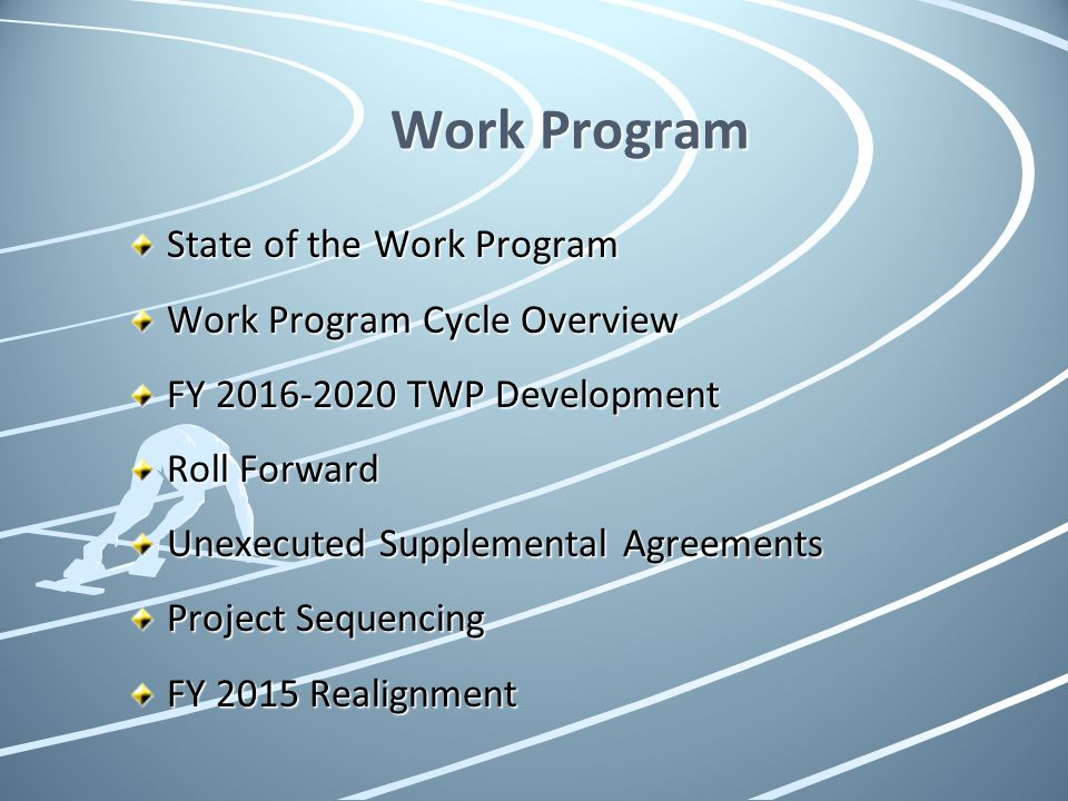 Work Program State of the Work Program Work Program Cycle Overview