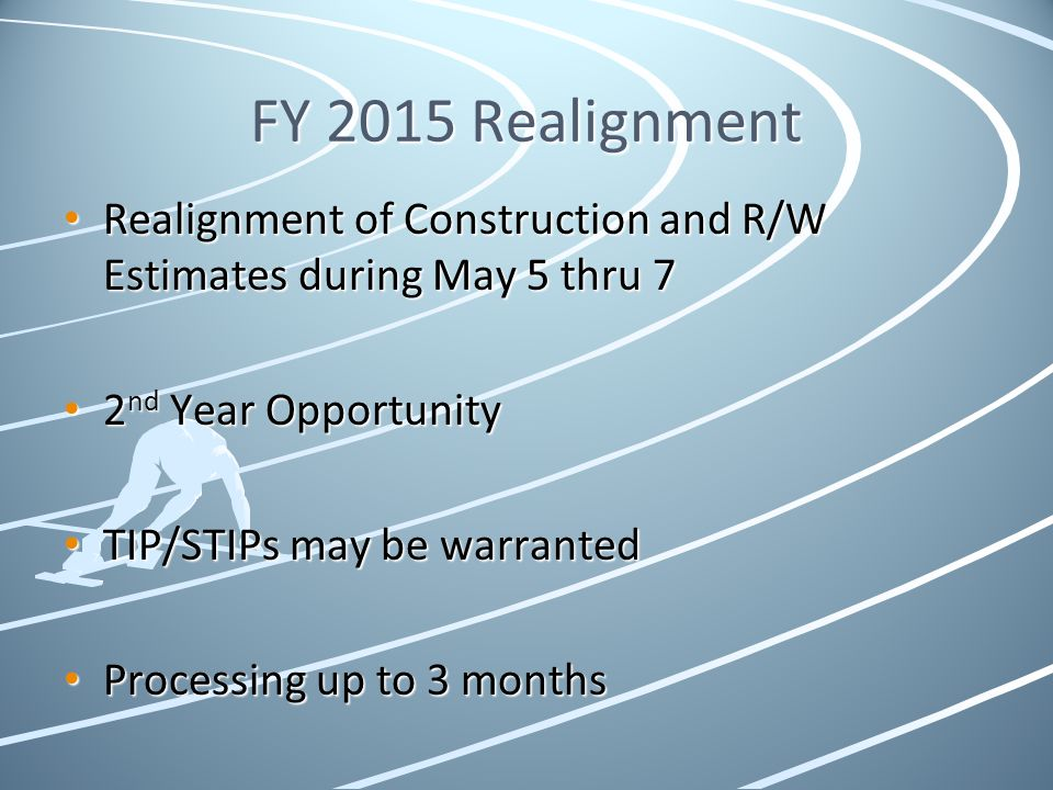 FY 2015 Realignment Realignment of Construction and R/W Estimates during May 5 thru 7. 2nd Year Opportunity.