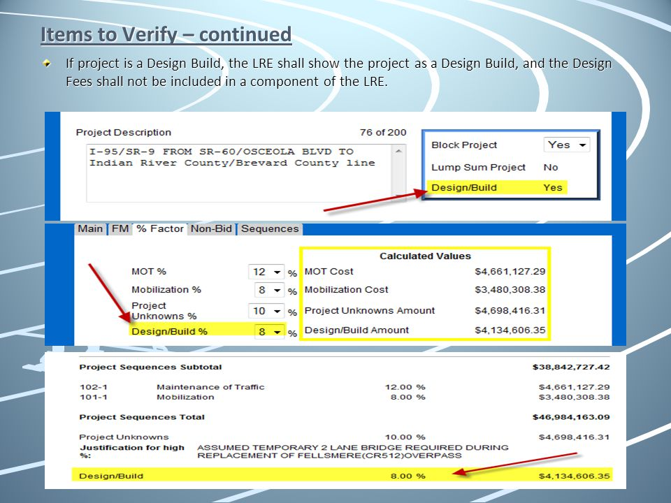 Items to Verify – continued