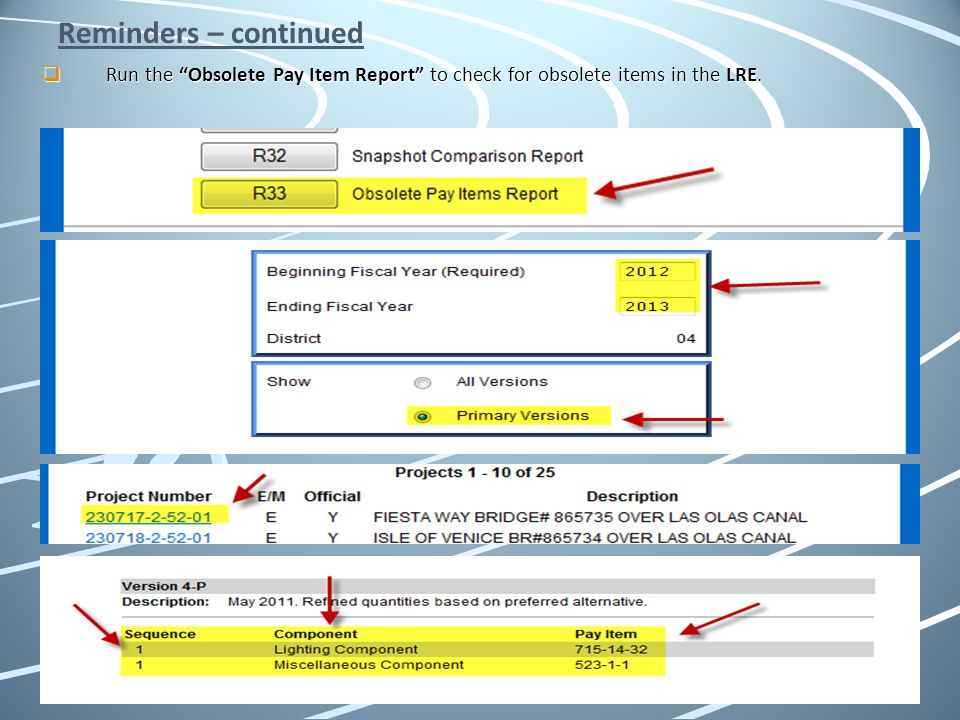 Reminders – continued Run the Obsolete Pay Item Report to check for obsolete items in the LRE.