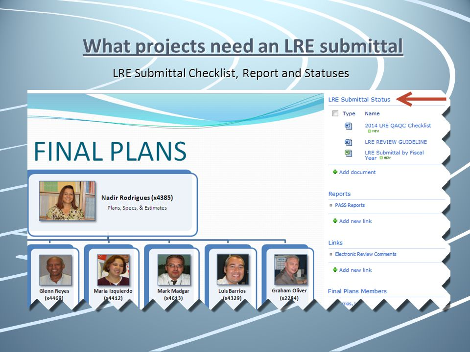 What projects need an LRE submittal