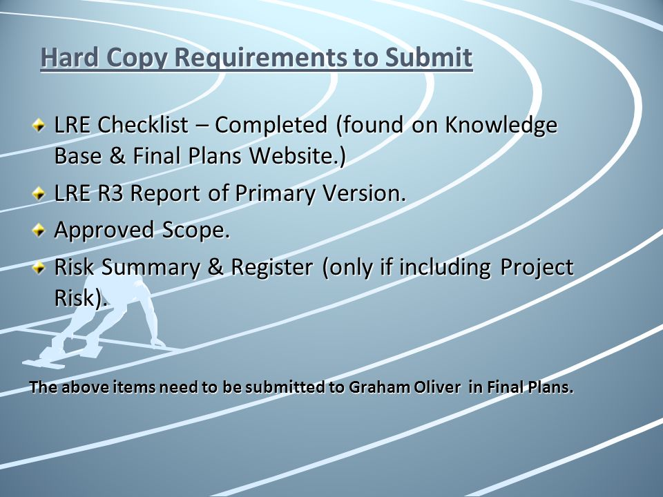Hard Copy Requirements to Submit