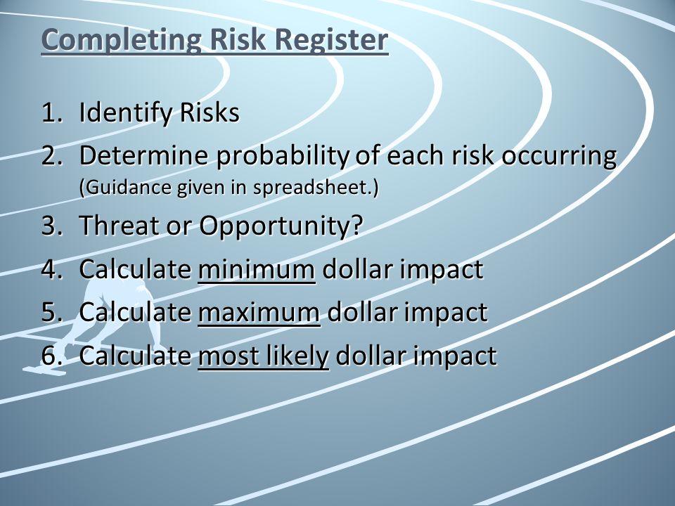 Completing Risk Register