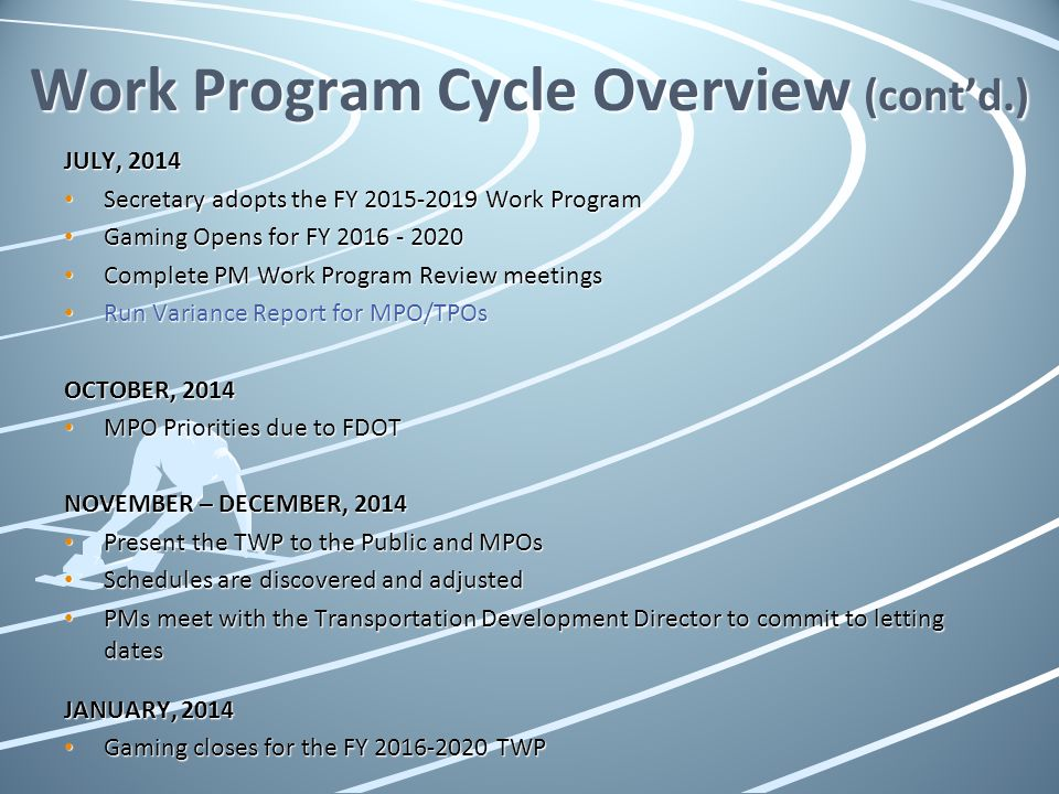 Work Program Cycle Overview (cont'd.)