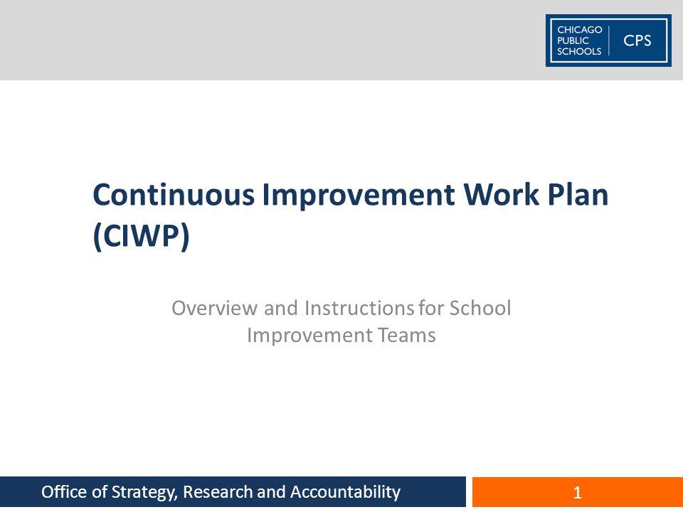 Continuous Improvement Work Plan (CIWP)
