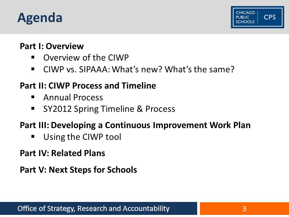 Agenda Part I: Overview Overview of the CIWP
