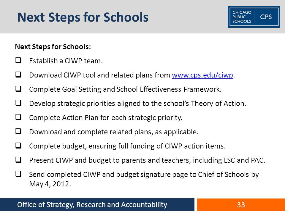Next Steps for Schools Next Steps for Schools: Establish a CIWP team.