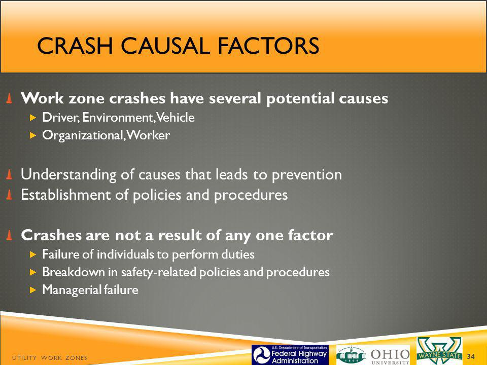 Crash causal factors Work zone crashes have several potential causes
