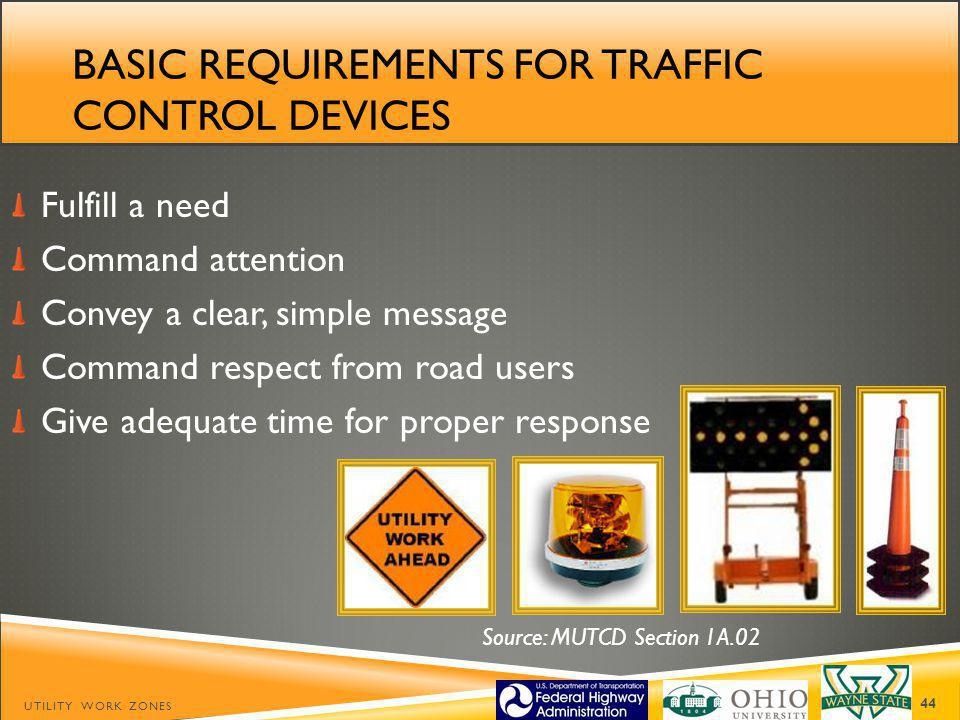 Basic requirements for traffic control devices