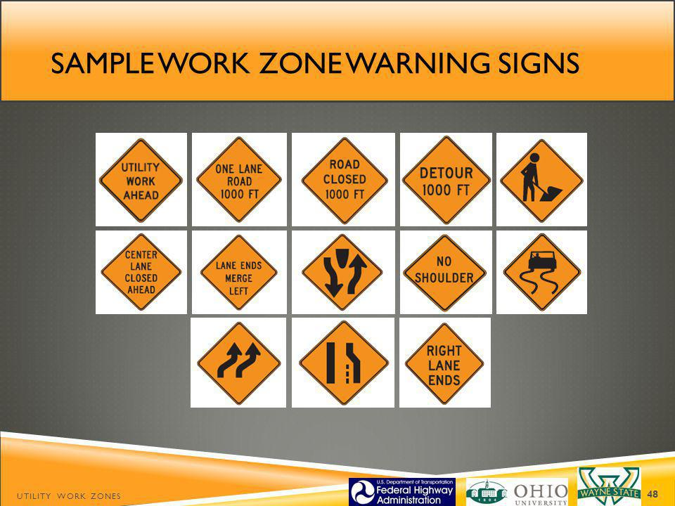 Sample work zone warning signs