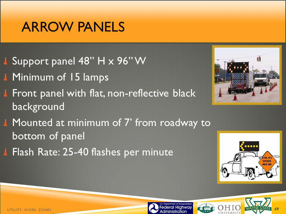 Arrow panels Support panel 48 H x 96 W Minimum of 15 lamps