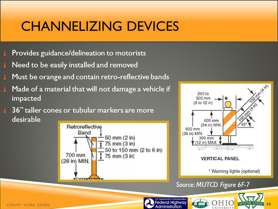 Channelizing devices Provides guidance/delineation to motorists