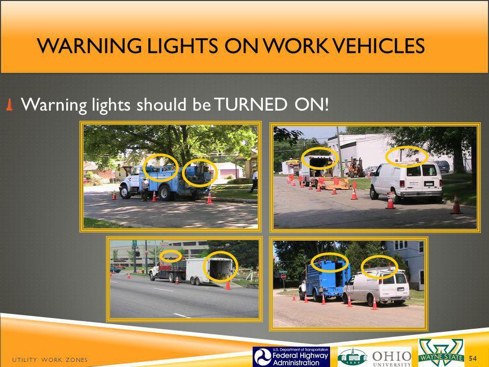 Warning lights on work vehicles
