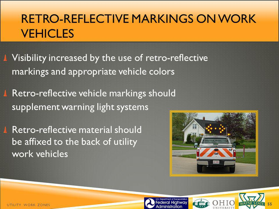 Retro-reflective markings on work vehicles